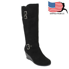 Chic Women Buckled Strap Inside Zipper Wedge Heel Mid Calf Cotton Boots Black