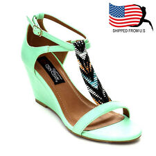 Contemporary Women's Beaded Criss Cross Wedge High Heel Ankle Strap Sandals Mint