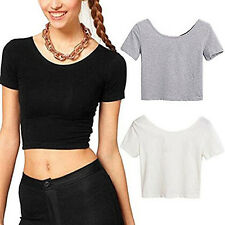 WOMEN SEXY SCOOP NECK CROP TOPS SHORT SLEEVE BARE MIDRIFF BLOUSE T-SHIRT SELLING