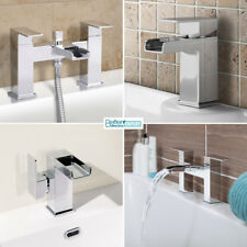 Waterfall Basin Bath Taps ; Side Lever Shower Mixer ; Solid Brass & Chrome