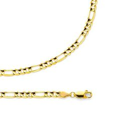 Figaro Chain Solid 14k Yellow Gold Necklace Concave Link Light  , 4.5 mm