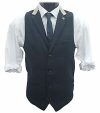 Mens Marc Darcy Fashion Denim Look Waistcoat - Glen Navy