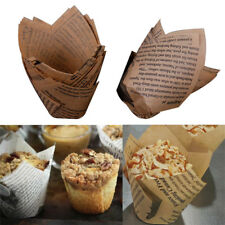 50Pcs DIY Tulips Cupcake Liners Paper Cake Baking Cup Muffin Cases Weeding Party