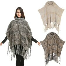Women's Tassel Cape Pashmina Batwing Style Hooded Poncho Cawl Knit Cloak Sweater