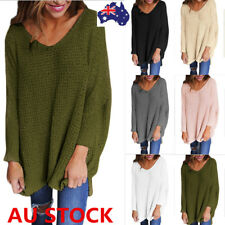 AU16 -22 Women V Neck Knitted Sweater Shirt Jumper Tops Loose Pullover Outerwear