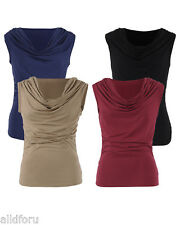 Retro Womens Ruched Cowl Neck Sleeveless Casual Stretchy Top Blouse tops