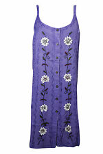 Boho Chic Womens Shift Dress Floral Embroidered Button Front Rayon Sundress