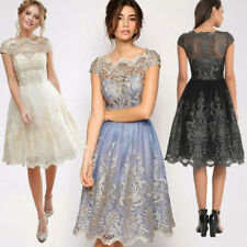 Vintage Women Floral Lace Short Sleeves Evening Cocktail Party Formal Mini Dress