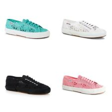 New Superga 2750 Macramew Canvas Shoes Women Lace Sneakers White Black All Sizes