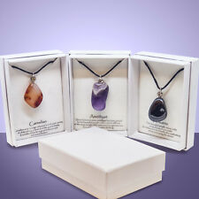 Natural Gemstone Crystal Necklace Quartz Stone Pendant Healing Point Chakra Bead
