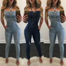Women Casual Bodycon Halter Denim Skinny Jumpsuit Romper Overall Pants Jeans New