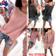 AU12-18 Women Loose Sweater Shirt Back Zipper Pullover Knitwear Jumper Crop Tops