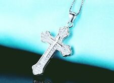 "MEN CROSS PENDANT 925 STERLING SILVER AAA CZ 18"" SILVER BOX CHAIN GIFT NECKLACE"