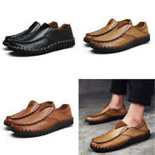 Fashion Cow Leather Slip On Loafers Mens Casual Walking Comfortable Flats Shoes