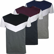 Mens T-Shirt Retro Crew Neck 80's 90's Vintage Colour Block Boys Tee Size s-xxl