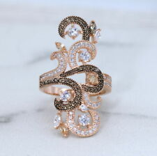 Vintage Rose Gold Long Finger Ring with Chocolate CZ Victorian Style Ring  J1009