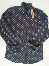 New DKNY Mens Dress/Casual Long Sleeve Shirt ButtonUp Collar Navy/White Cotton