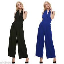 Lady Sexy Wide Leg Jumpsuit Romper Women V-neck Sleeveless Backless Casual Pants