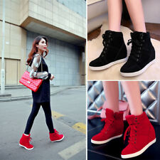New Fashion Women Ankle Boots Mid Top Wedge Platform Hidden Heels Sneakers Shoes