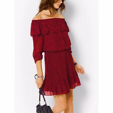 NWT MICHAEL KORS Womens Umbria Red Crepe Lace Printed Casual Dress $155