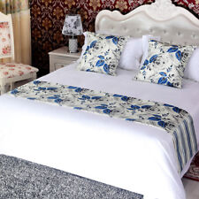 yazi Blue Rose Bed Runner Bedding Tail Flag Bedroom Hotel Deco Bed CoverClassic