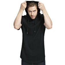 Men Fashion Hoodie T-Shirt short Sleeve fitness Casual workout side zipper hoody