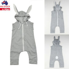 Kids Baby Boy Girl Rabbit Jumpsuit Cotton Romper Zipper Hooded   Outfit Clothes