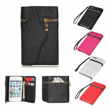 New Zipper PU Leather Flip Wallet Purse Case Cover For Apple iPhone 5 5S 4 4S #M