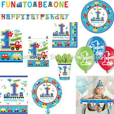 1st Birthday Boys All Aboard Party Supplies - Tableware, balloons etc - Free P&P