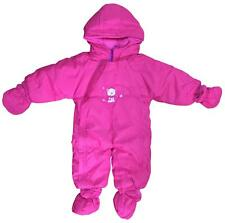 BABY GIRLS SNOWSUIT FLEECE LINED DETACHABLE MITTENS & MUFFS 3-18M 4 COLOURS BNWT