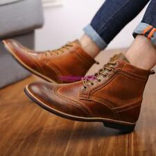 Mens Vintage Carved Brogue Shoes Wingtip Lace Up High Top Ankle Boots UK size