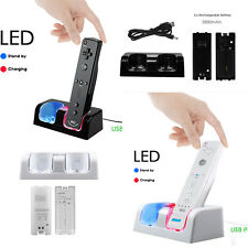 Dual Charger Dock Station +2 Rechargeable Battery Pack for Wii Remote Controller