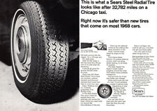 1968 Sears Steel Radial Tire: Chicago Taxi (23999) Print Ad