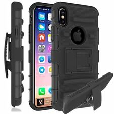Rugged Hybrid Armor Impact Case Belt Clip Holster Kickstand Cover For iPhone X 8