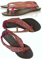 TOPSHOP BEADED EMBELLISHED EMBROIDERED ORIENTAL FLAT SANDALS NEW