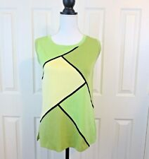 NEW Ming Wang Toula Women's Tank Top EXTRA SMALL  SMALL Lime Green Black Travel