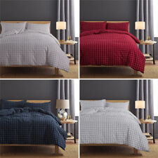 100% Cotton Grid Pattern Soft Quilt Cover Set Flat or Fitted Sheet Pillowcases
