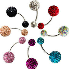 Ball Steel Zircon Crystal Navel Belly Ring Button Bar Body Piercing Jewelry ZZ57