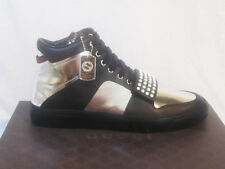 NIB GUCCI Men BLACK/SILVER LIMITED EDITION HIGH TOP Leather SNEAKERS  10.5 11