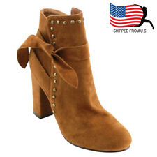 Chic Contemporary Women's Knot Gold Studs High Block Heel Ankle Bootie Rust