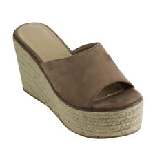 Contemporary Women's Slip On Peep Toe Espadrille Platform Wedge Sandals Taupe