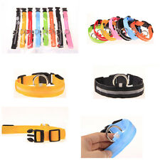 Useful Nylon Cat Pet Dog Collar LED Light Safety Light-up Flash Glowing in Dark