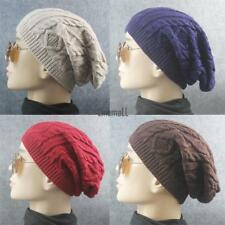 New Men Ladies Knitted Woolly Winter Oversized Slouch Beanie Hat Cap LM