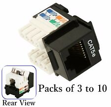 Black Cat5e Punch Down Network Jack Female RJ45 Ethernet for Keystone Wall Plate