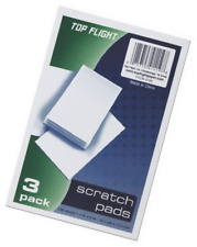Top Flight Scratch Pads, 4 x 6 Inches, White, 100 Sheets per Pad, 3 Pads per Pac