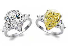 925 Silver 3.2ct White&Yellow Topaz Jewelry Wedding Engagement Ring Size 6-10