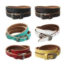 Fashion Unisex Alloy Buckle Multilayer PU Leather Bracelet Bangle Jewellery
