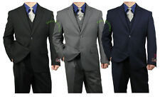 Quality Sharp 3pc Men Dress Suit - Black, Heather Gray, Navy - Size 36-62 tb26