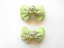 Owl Handmade Boutique Hair Bow Clips Green Pink Minnie Mouse Pony Tail Pig Tails