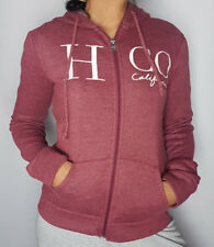 Hollister Womens Sweater Hooded Zipped Long Sleeve Graphic Maroon Red Hoodie